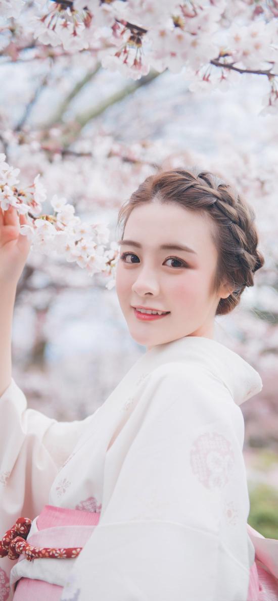 和服 樱花 女孩 盘发 唯美 粉色