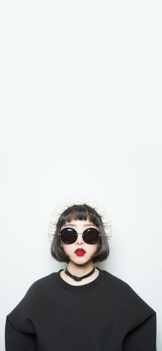 个性 时尚 短发 墨镜 红唇
