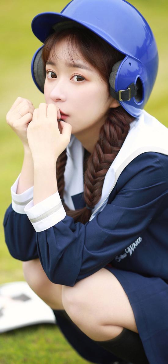 清纯美女写真 麻花辫 棒球帽