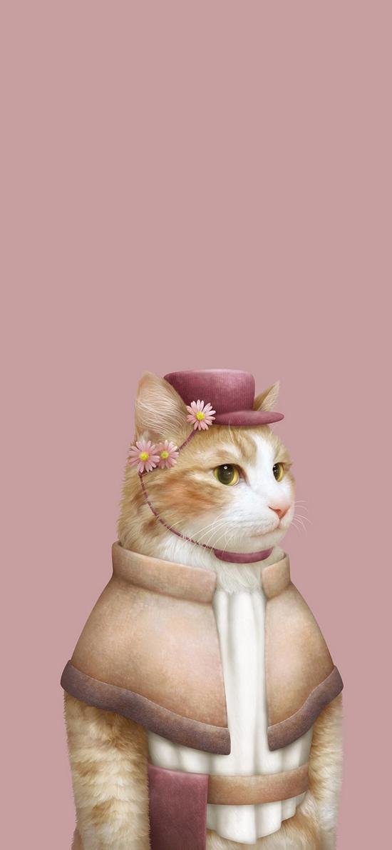 猫 设计 贵妇 鲜花 帽子 粉色