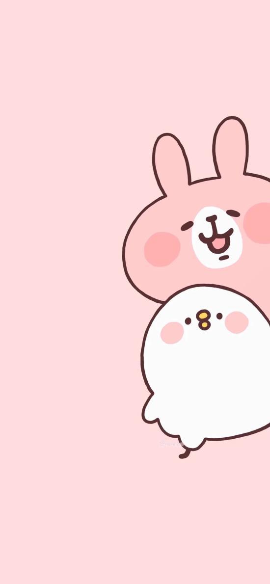 兔子 小鸡 萌 可爱 卡通 粉色