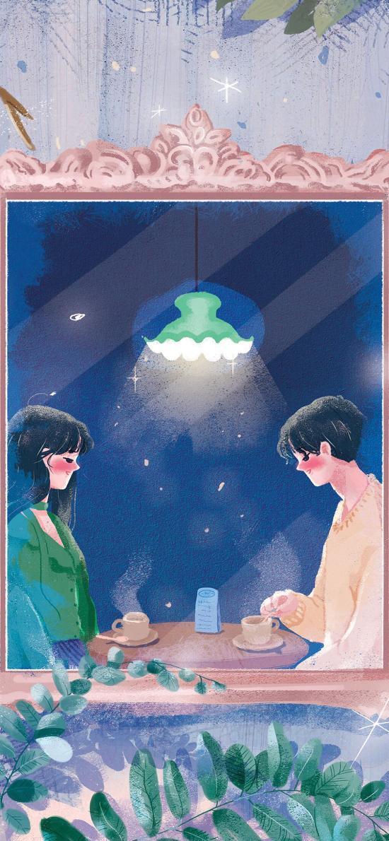 情侣 插画 爱情 灯光 咖啡厅 浪漫