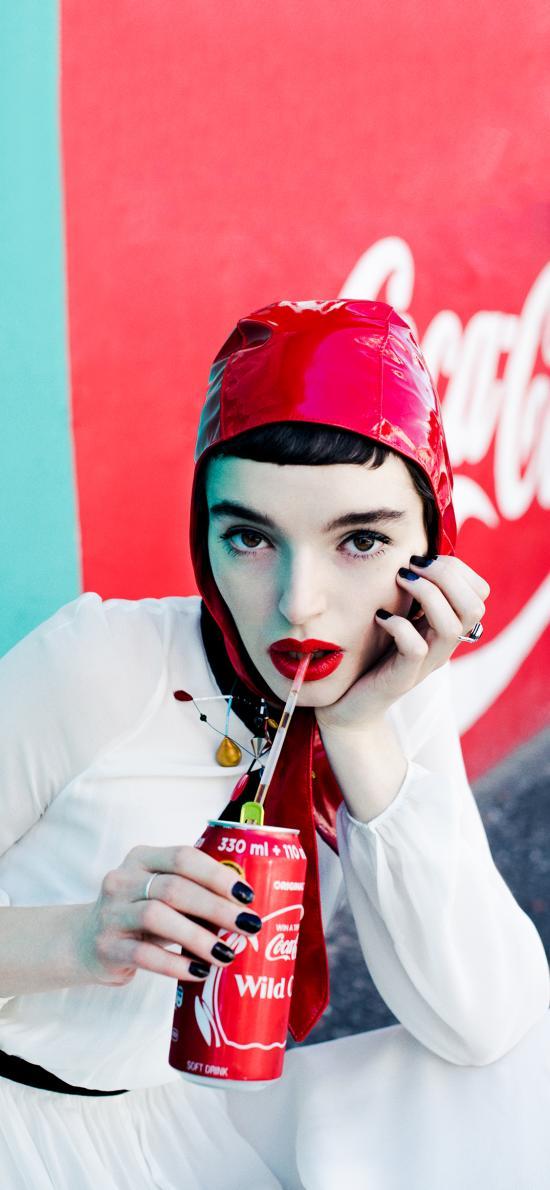 时尚女郎 女孩 红唇 饮料 欧美 个性