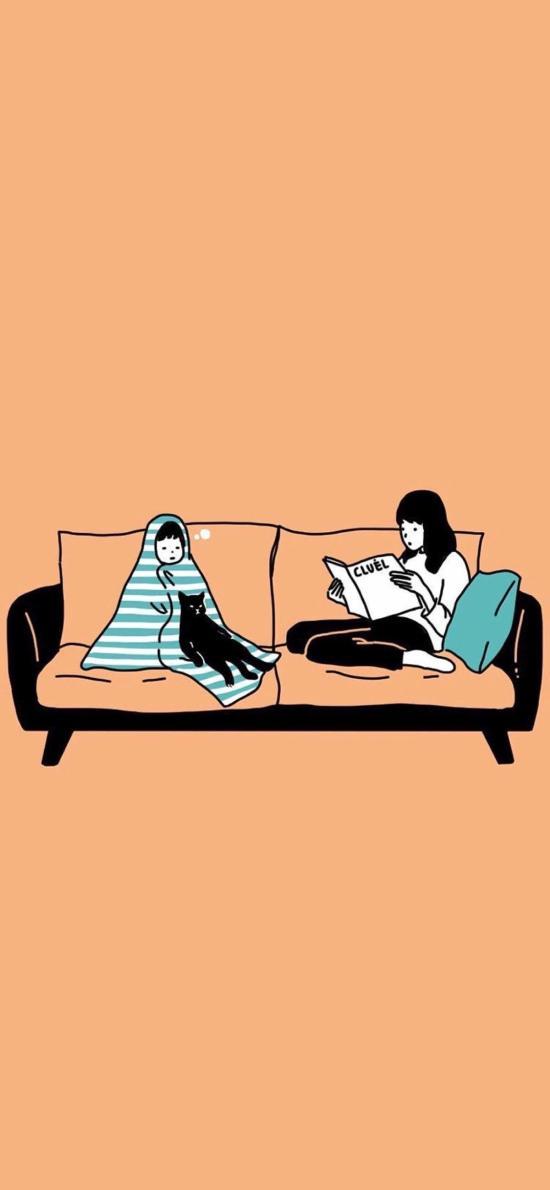 卡通插画 女孩 看书 黑猫