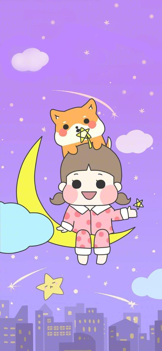 卡通女孩 月亮 柯基 可爱
