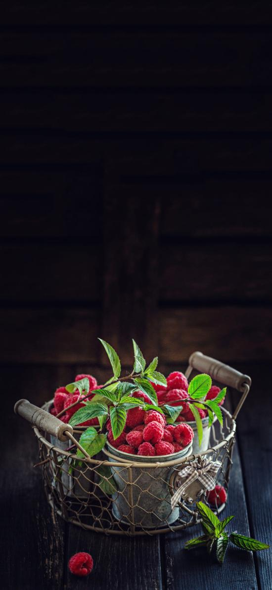 水果 树莓 红色 绿叶