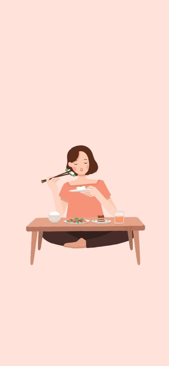 纯色背景 女孩插画 吃饭