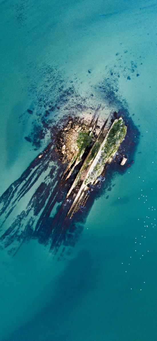 海岛 岛屿 海面 俯拍