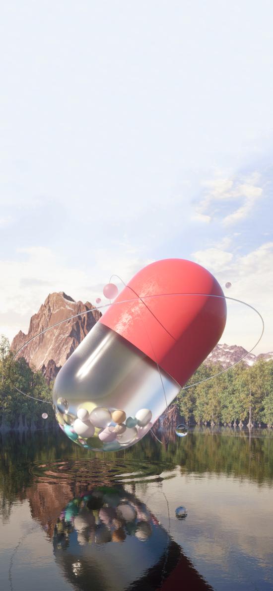 创意摄影 山河 胶囊 圆球体