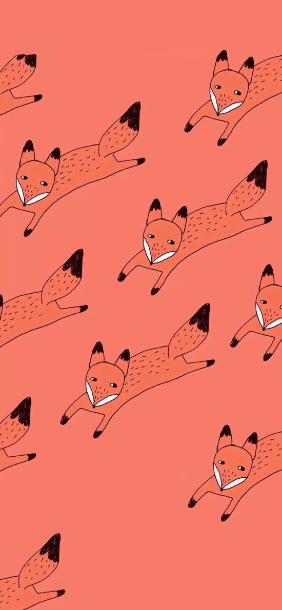 卡通 狐狸 红色 平铺