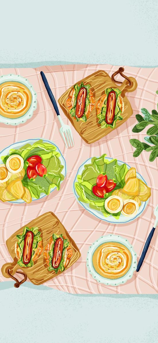 创意 汉堡  野餐 沙拉 色彩