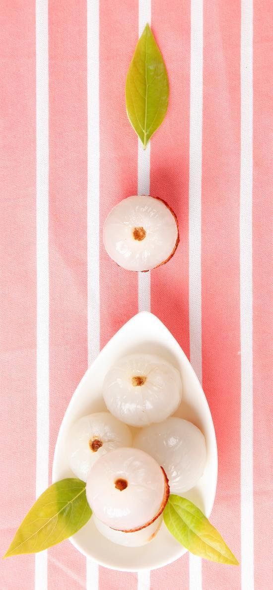 水果 新鲜 嫩叶 荔枝 剥皮