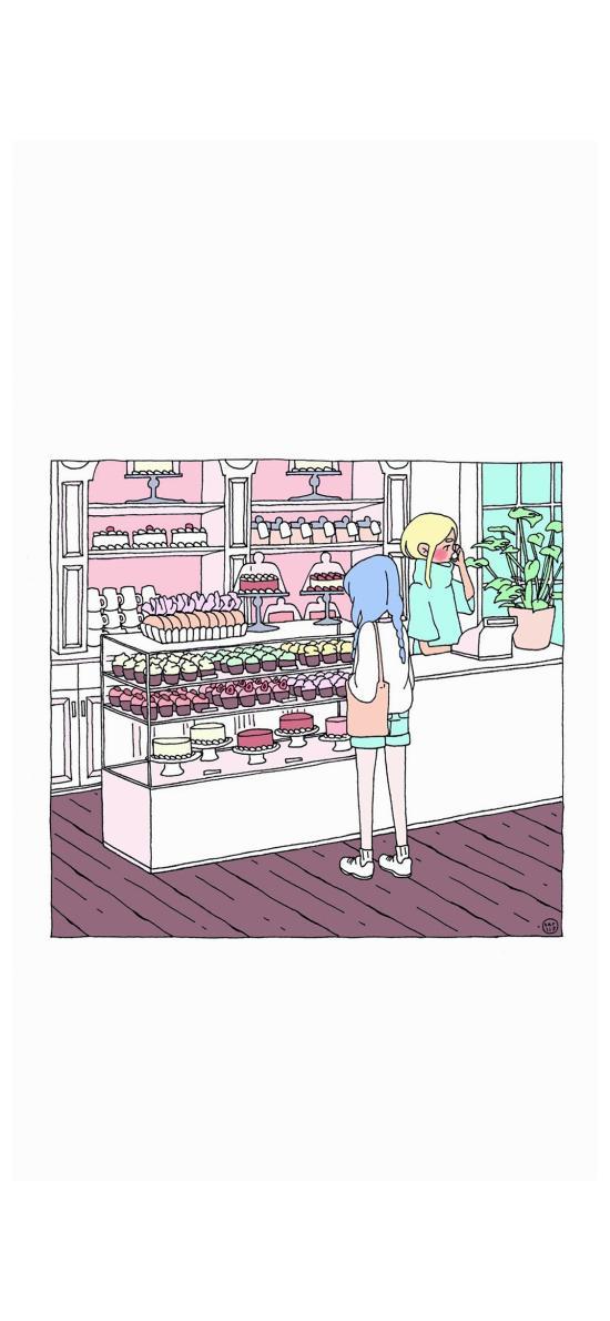 手绘 插画 甜品店 糕点 蛋糕