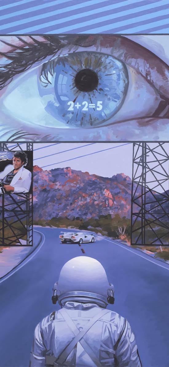 太空人 插画 旅行 道路 背影