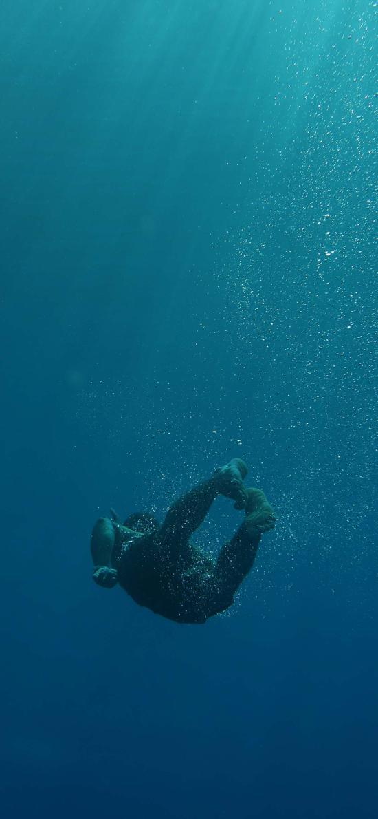 深海 蓝色 光线 潜水 游泳 运动 极限