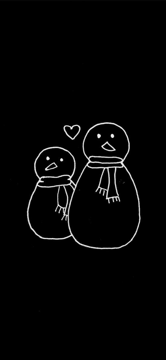 雪人 簡筆畫 黑白 線描 愛心