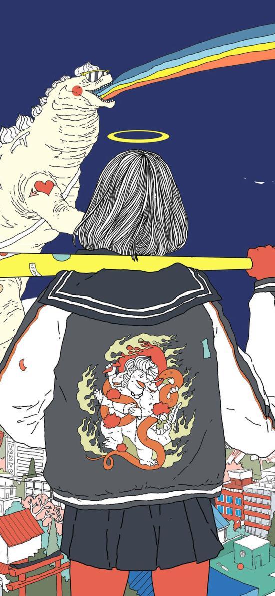 背影 短發 女孩 插畫 彩虹 怪獸