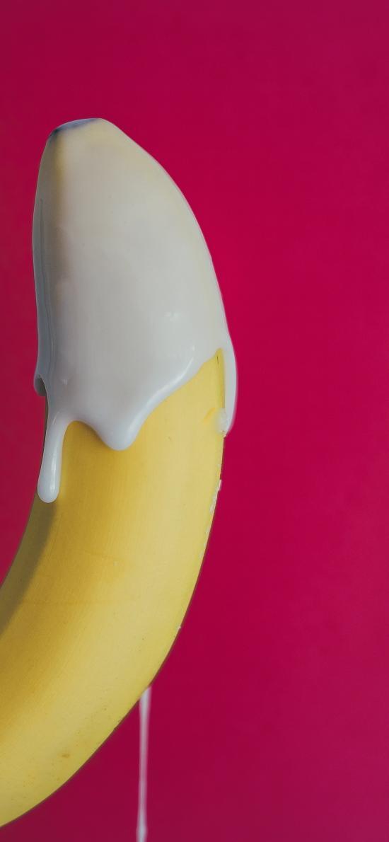 香蕉 煉乳 水果 玫紅
