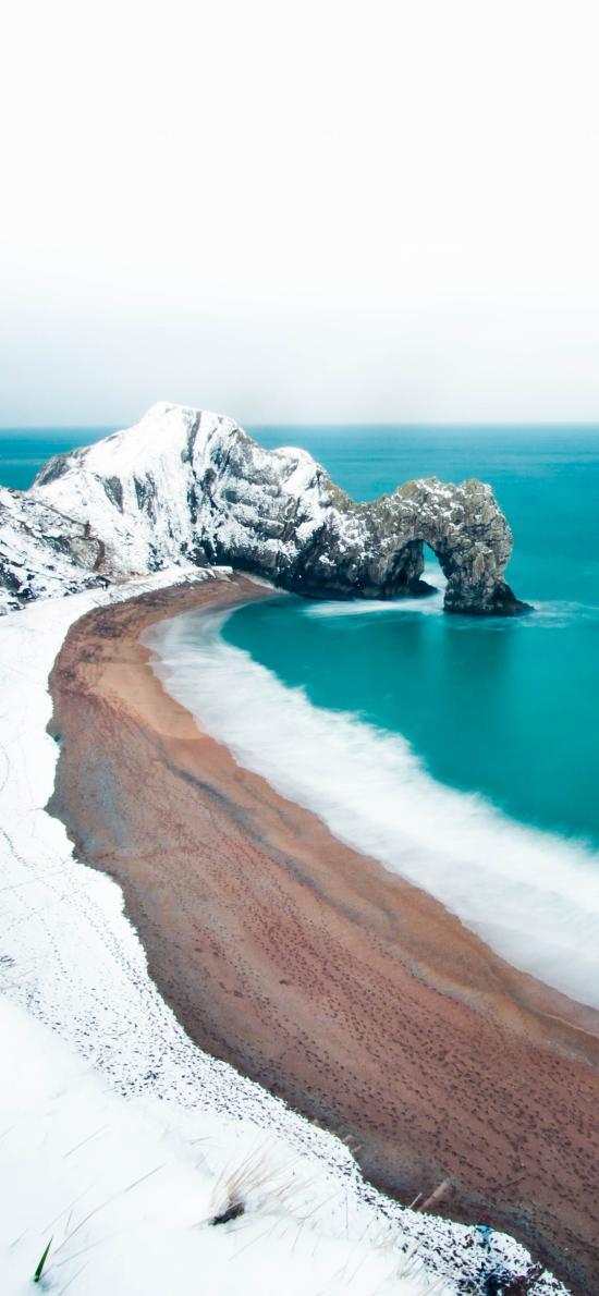 海岸 雪景 海邊 海浪