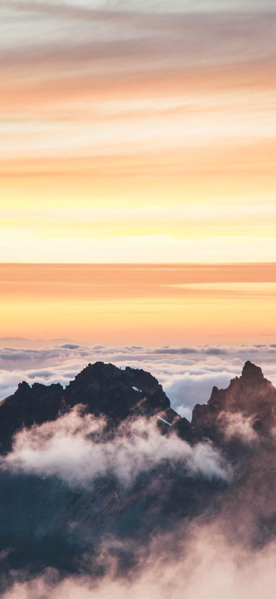 景色 云層 夕陽 高山 山頂