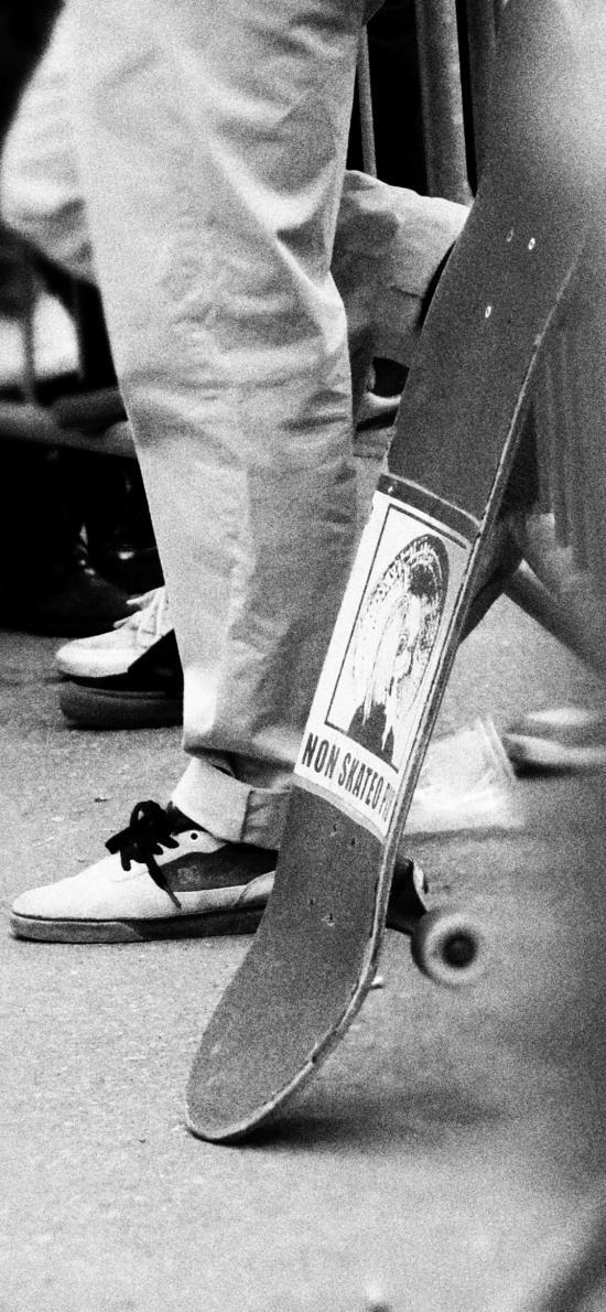 休閑運動 滑板 黑白