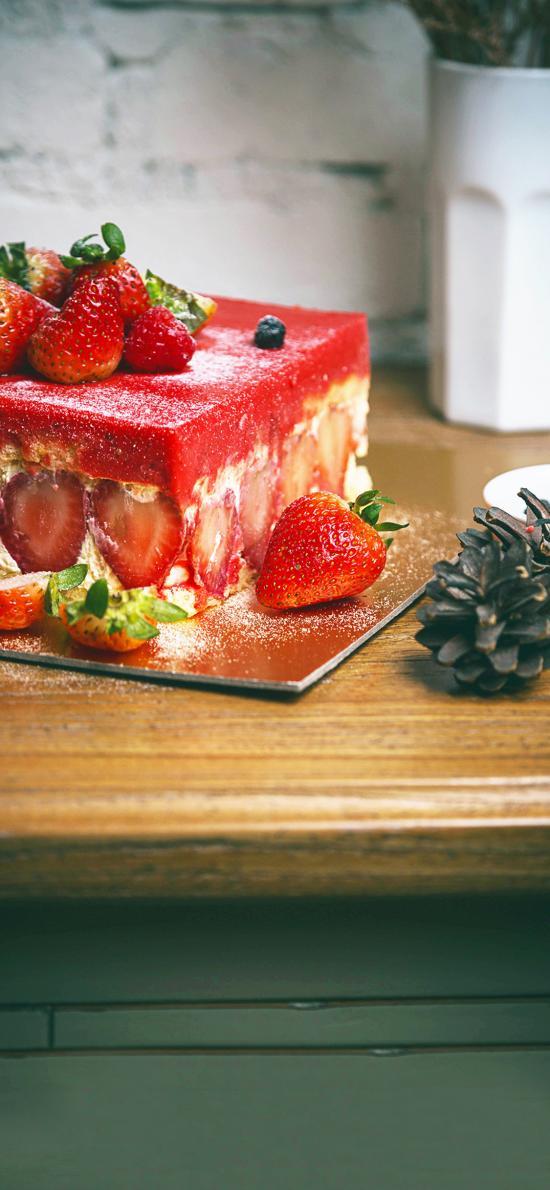 甜品 草莓 蛋糕 松果