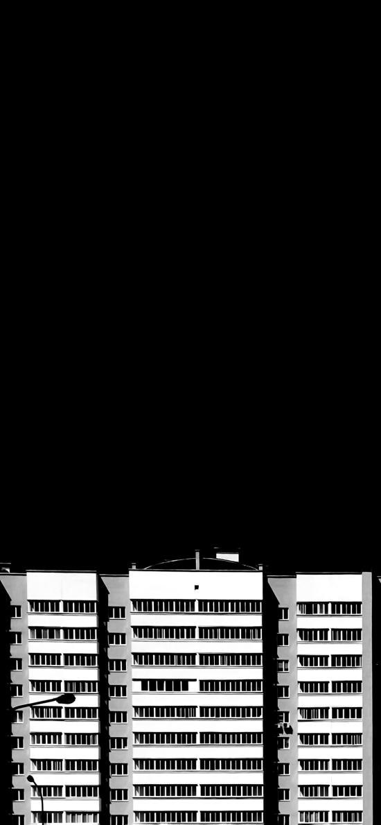 建筑 樓房 排列 黑白