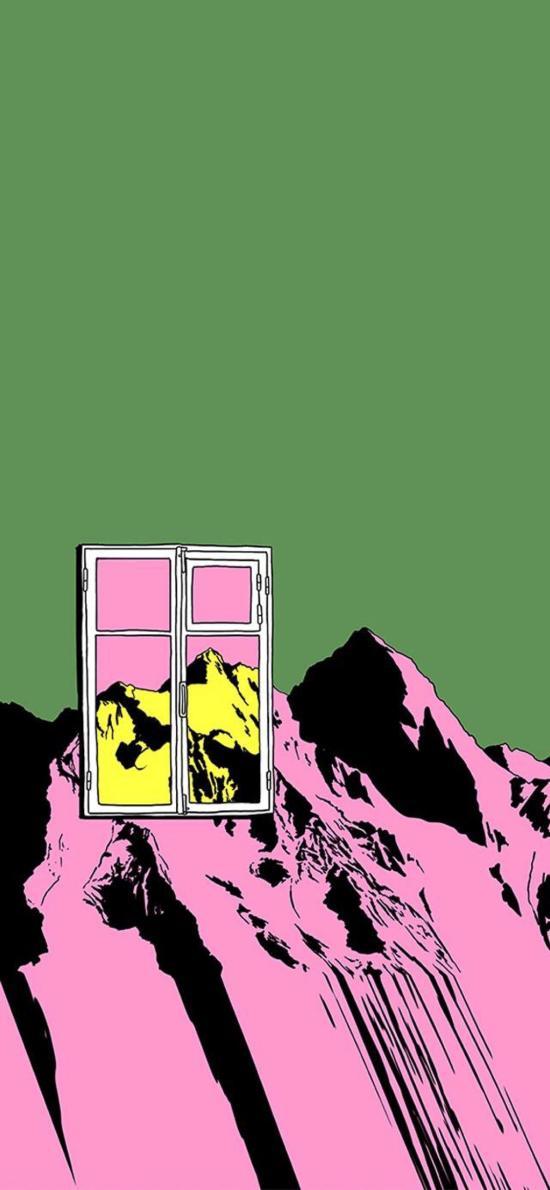 插畫 山峰 窗戶 色彩