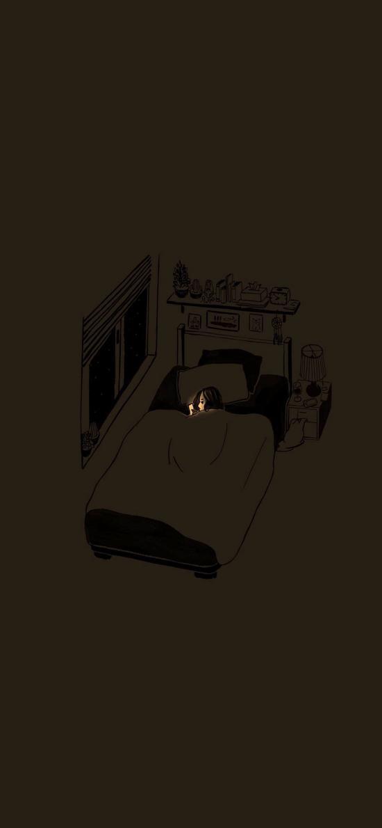 插畫 房間 女孩 睡覺 玩手機