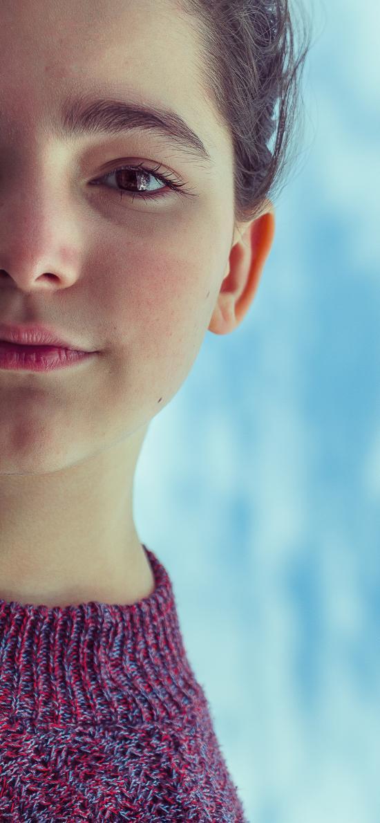 歐美美女 半邊臉 精致 甜美