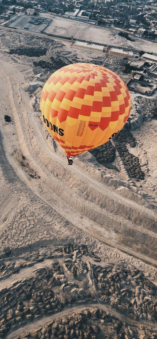 荒漠 高空 熱氣球 飛行