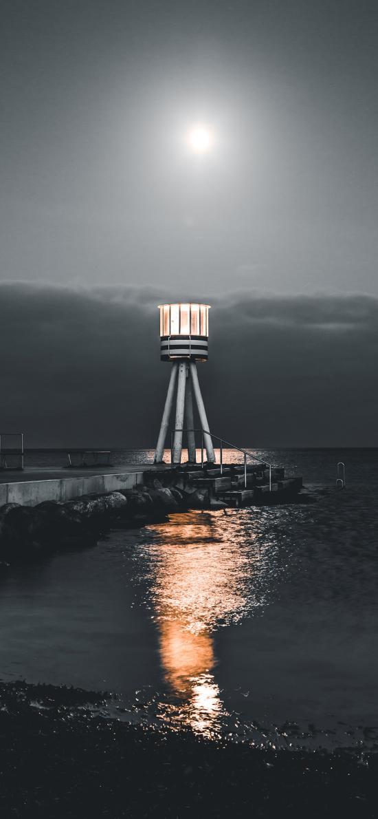 夜晚 海岸 燈塔 信號