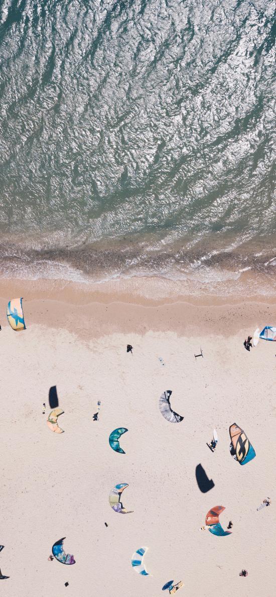 大海  沙灘 降落傘 度假