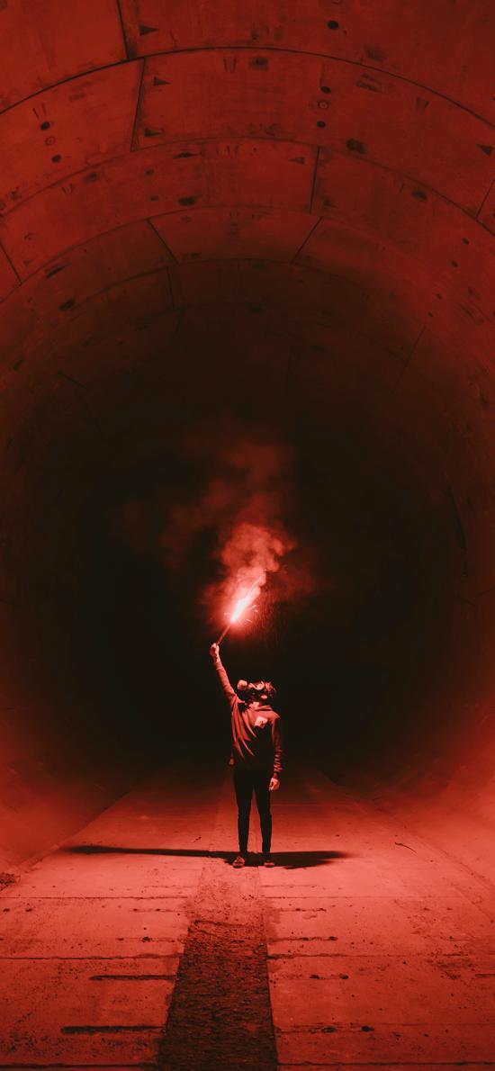煙霧彈 黑暗 信號 隧道