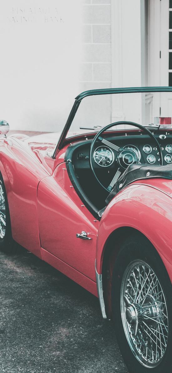 敞篷车 炫酷 复古 跑车 红色