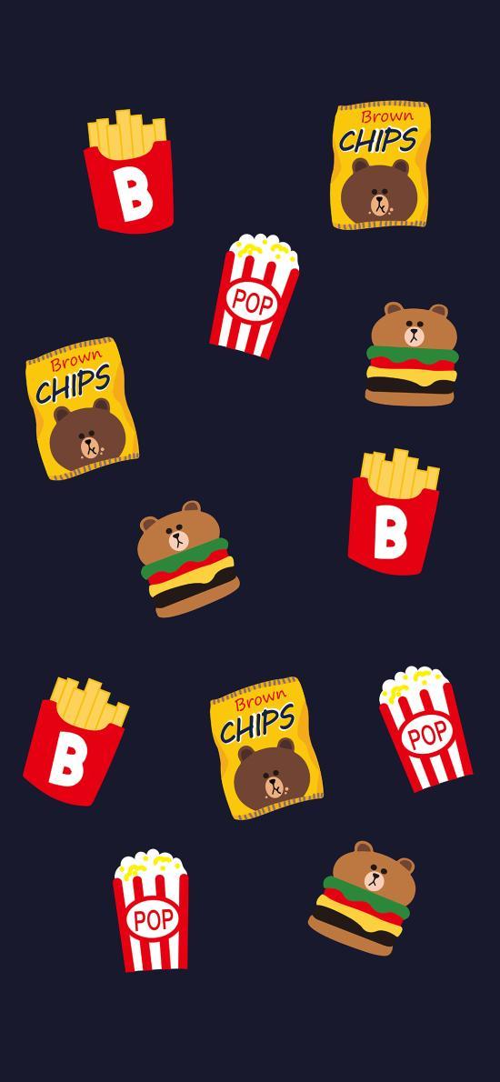 布朗熊 卡通 line friends 可爱 平铺 汉堡 薯片
