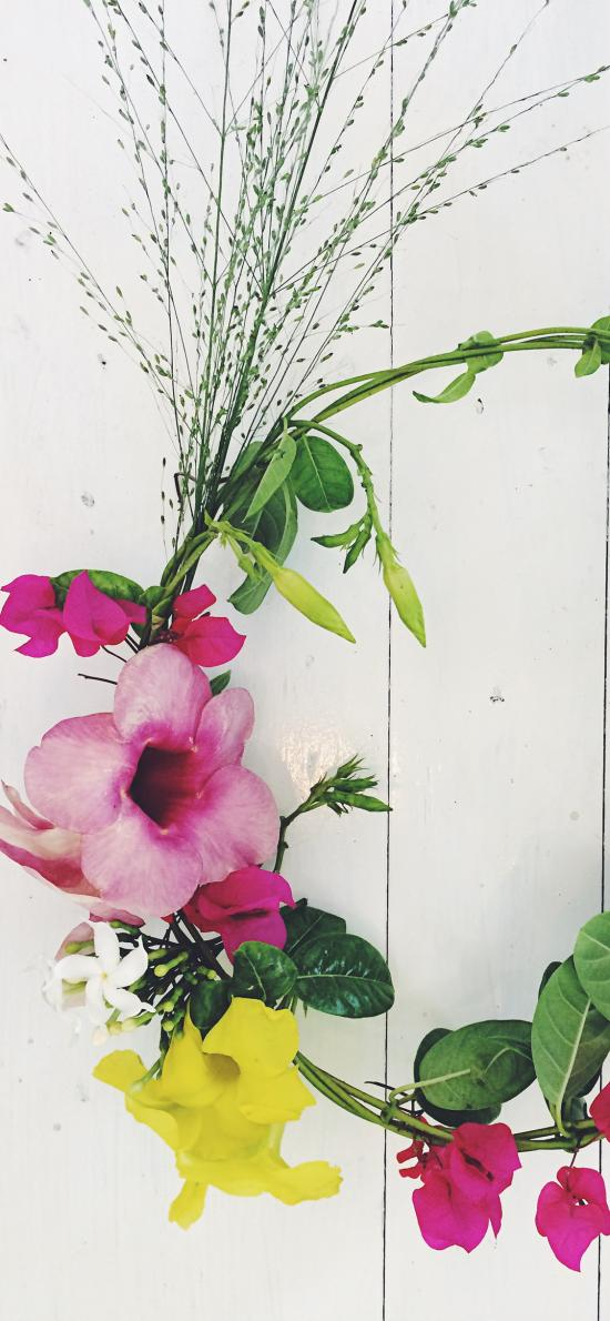 編織 花環 枝葉 圓形 鮮花