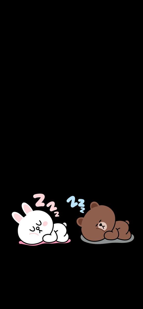 line friends 布朗熊 可妮兔 动画 睡觉 黑色