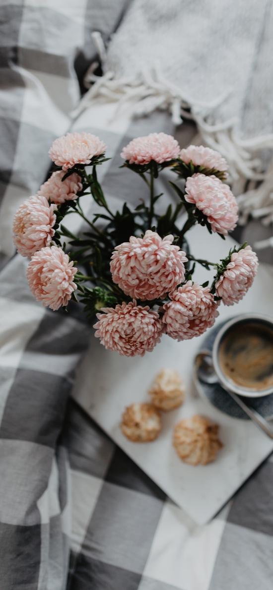 早餐 鮮花 咖啡 床