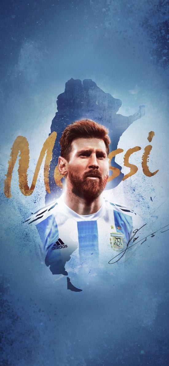 梅西 足球 運動員 阿根廷 藍色