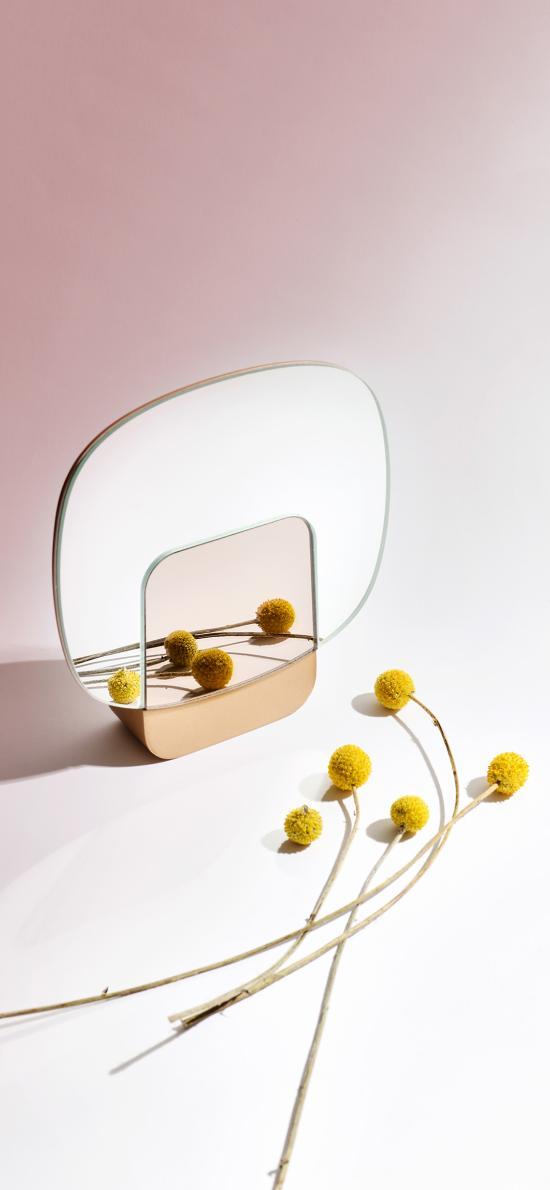 鏡子 干花 黃色 裝飾