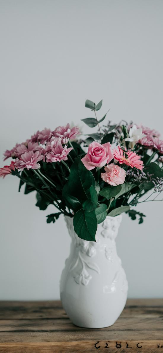 鮮花 枝葉 玫瑰 菊花
