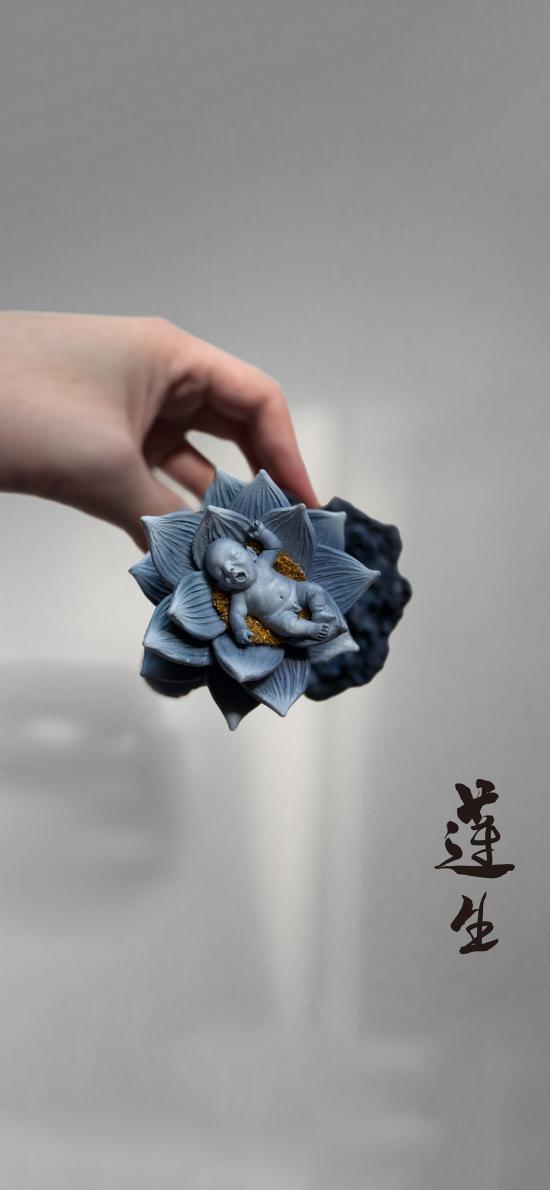 工艺品 雕刻 莲生 婴儿