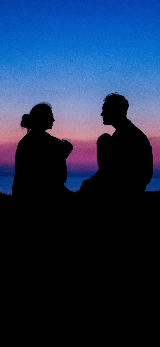 天空 夜景 情侣 背影