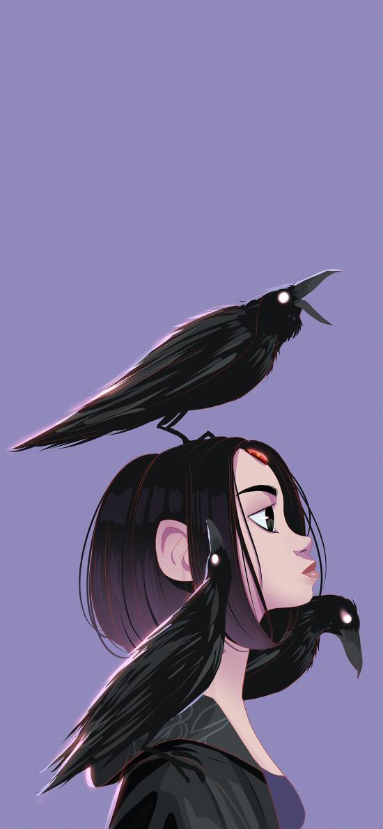 插图 卡通 女孩 乌鸦