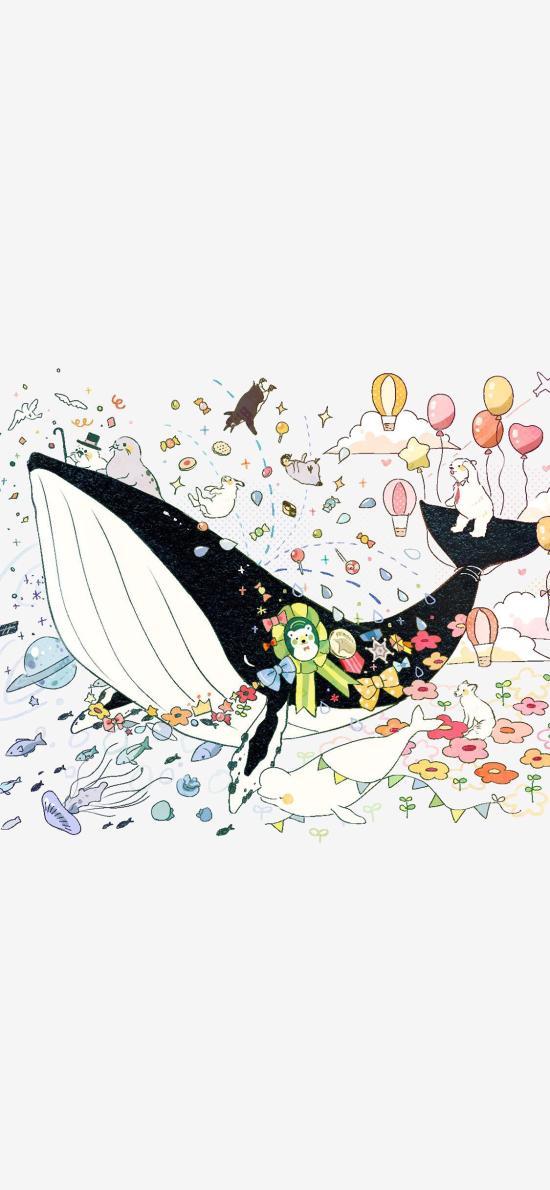 卡通 插图 鲸鱼 海豚 童趣