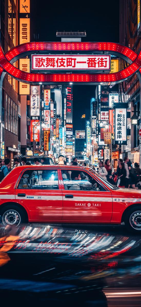街道 的士 彩灯 夜晚 一番街