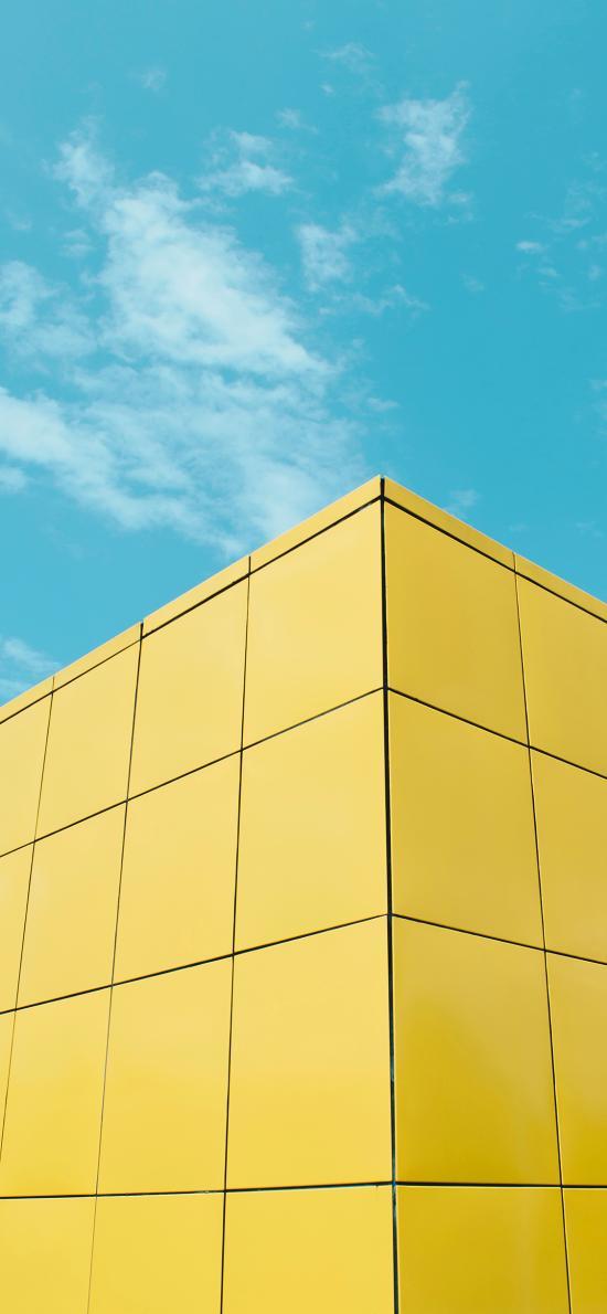 蓝天白云 建筑 黄色 魔方