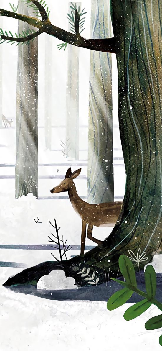 小鹿插画 森林 冬天 雪地