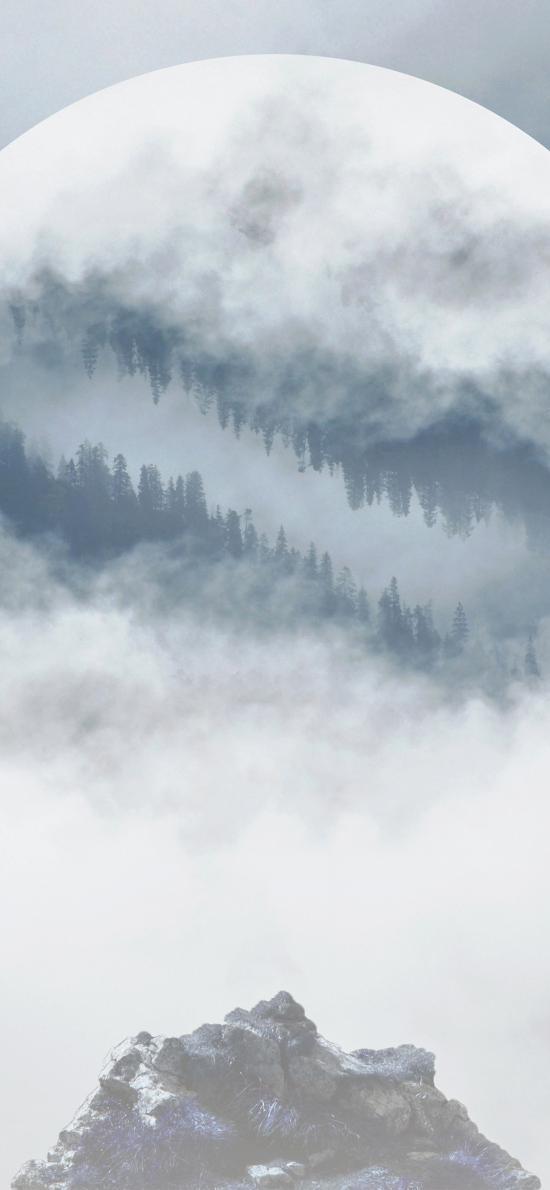 月亮 月球 山 云雾 朦胧